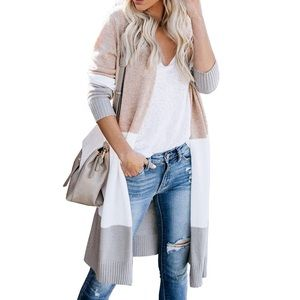 Oversized Cardigan Colorblock Loose Knit
